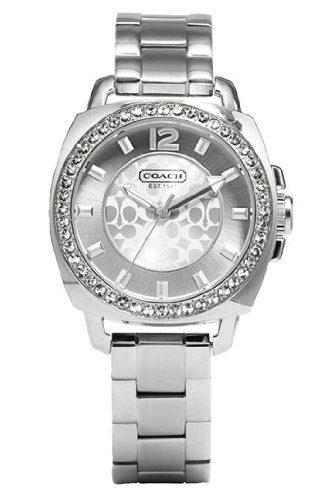 Coach Womens Mini Boyfriend Silver Tone Bracelet Watch