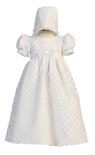 Long White Poly Cotton Polka-dot Burnout Baby Girl Christening Baptism Special Occasion Newborn Dress Gown with Matching Hat - S (3-6 Month, 8-12 lbs)