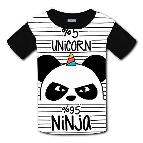 Panda Unicorn Total 100% Short Sleeve Crew Neck T-Shirt for Boys XL