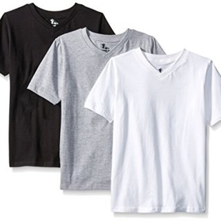 American Hawk Big Boys 3 Piece Pack V-Neck T-Shirt, White/Black/Heather Grey, 10/12