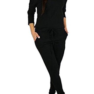 Fixmatti Women's Elegant Boat Neck Long Sleeve Full Length Rompers Jumpsuits Black M