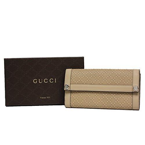 Gucci Diamante Leather Continental Flap Wallet, Beige Tan