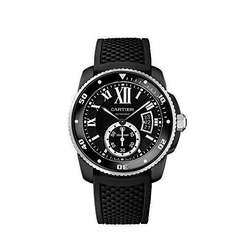 Cartier Calibre de Cartier Diver Automatic Black Dial Black Rubber Divers Mens Watch WSCA0006