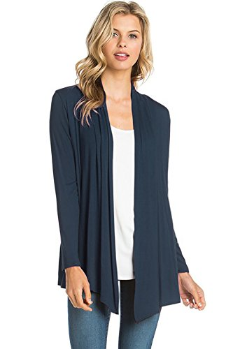 12 Ami Basic Long Sleeve Open Front Cardigan Navy Blue M