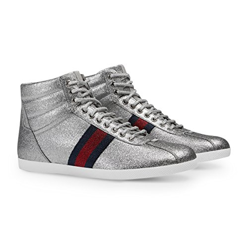 Gucci Men's Glitter Web High-top Sneaker, Silver Metallic (Argento) 429597 (11.5 US/11 UK)