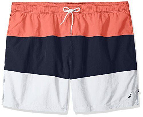 Nautica Men's Tall Quick Dry Color Block Swim Trunk (t71007), Spiced Coral, 5X Big