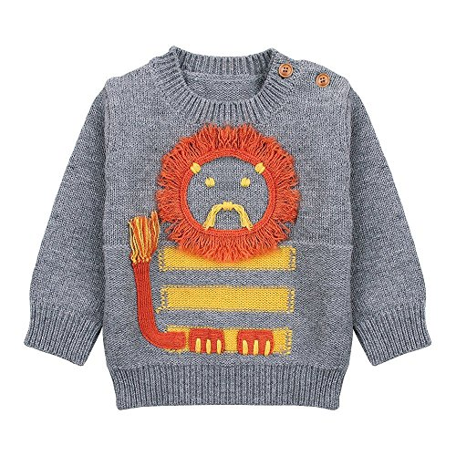 Little Boys' Crewneck Lion Knit Pullover Sweater Tops (Baby boy/ Toddler) (2-3 Years, Grey)