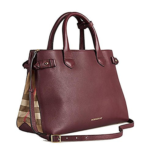 Tote Bag Handbag Authentic Burberry Medium Banner in Leather and House Check MAHOGANY RED Item