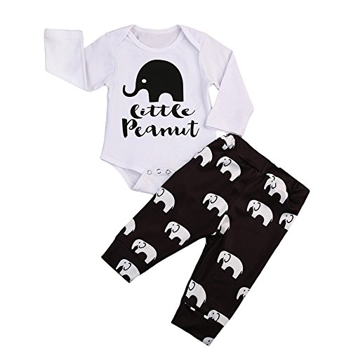 a2f5d42f3 BiggerStore 2Pcs Infant Newborn Baby Girls Boys Long Sleeve Elephant  Bodysuit Romper+ Long Pants Outfit Clothes
