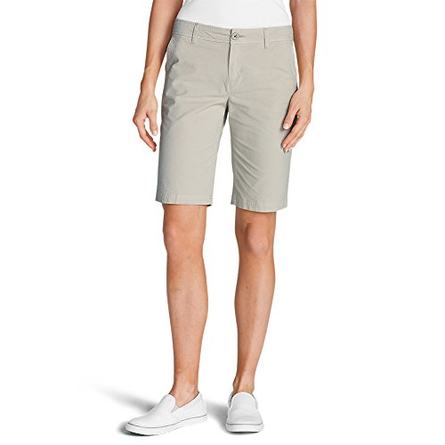 Eddie Bauer Women's Adventurer Stretch Ripstop Bermuda Shorts - Slightly Curvy,,Pumice (Grey),10,10,Pumice (Grey)