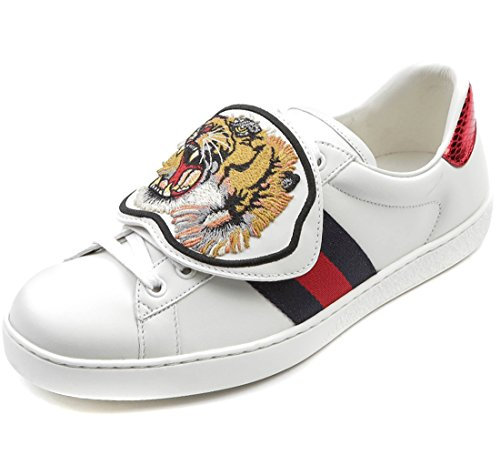 Wiberlux Gucci Men's Detachable Tiger Patch Sneakers 9.0 White