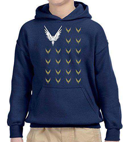 New Way 830 - Youth Hoodie Maverick Bird Savage Logang Flag Unisex Pullover Sweatshirt Large Navy