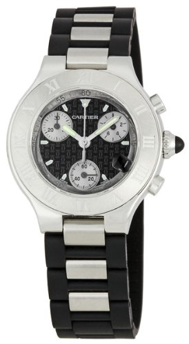 Cartier Women's Must 21 Chronoscaph Stainless Steel and Black Rubber Chronograph Watch