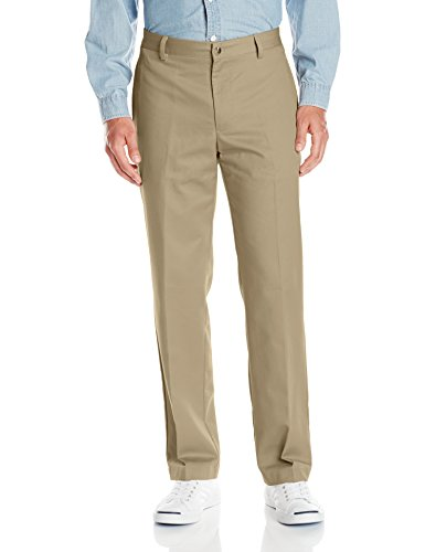 Van Heusen Men's No Iron Classic Fit Flat Front Pant, Dusty Gravel, 44W x 30L
