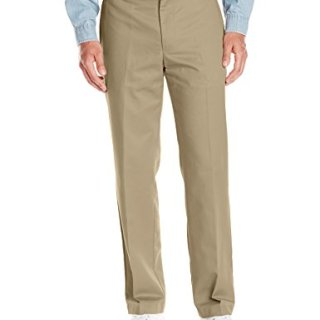Van Heusen Men's No Iron Classic Fit Flat Front Pant, Dusty Gravel, 44W x 30L