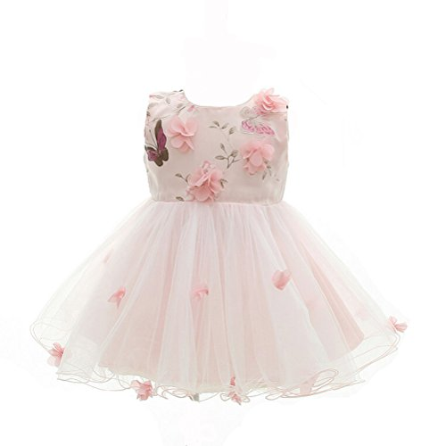 Moon Kitty Baby Girls Pink Flower Dresses Special Occasions Butterfly Petals Dress for Baby Girl, 24M(23-26Months), Pink