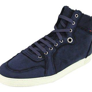 Gucci Men's Navy Shearling High-Top Sneaker (6.5 US/6 G, Navy Blue)