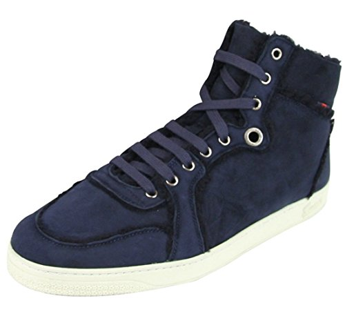 Gucci Men's Navy Shearling High-Top Sneaker (6.5 US/6 G, Navy Blue)