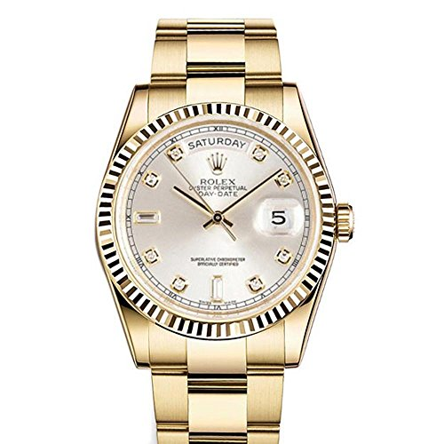 Rolex Day-date 36mm Silver Dial 18k Yellow Gold President Men's Watch