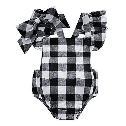 Baywell Baby Girl Romper Outfit Set, Sleeveless Plaid Bow-Knot Headband 2 PCs (L/12-18M/90, Black)