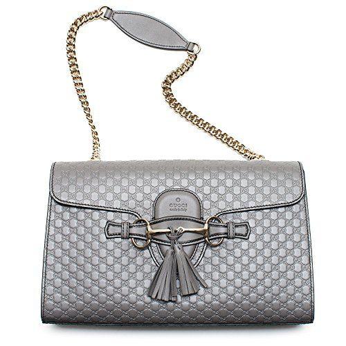 Gucci Emily GG Micro Shoulder Lousse Grey Gray Leather New Handbag
