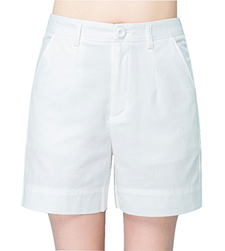 Chartou Women's Basic Mid-Waisted Wide-Leg Lightweight Bermuda Shorts (Medium, White)