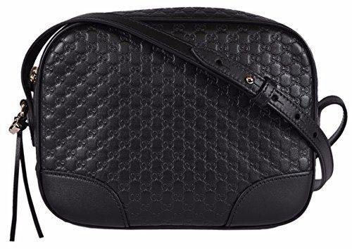 d7502585f2a Gucci Women s Leather Micro GG Guccissima BREE Crossbody Purse Bag (Black)