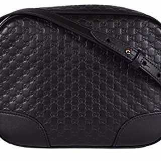 Gucci Women's Leather Micro GG Guccissima BREE Crossbody Purse Bag (Black)