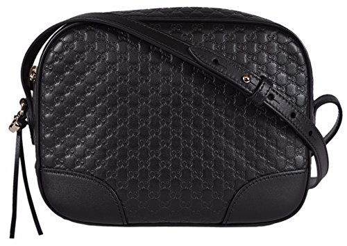 Gucci Women's Leather Micro GG Guccissima BREE Crossbody Purse Bag (Black)
