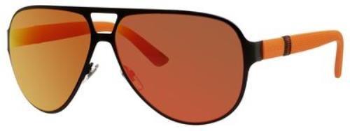 Gucci 2252/S Sunglasses Black Orange / Red Mirror