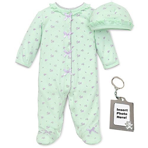Little Me Newborn Rose Floral Footie, Baby Hat and Keychain Preemie, Green