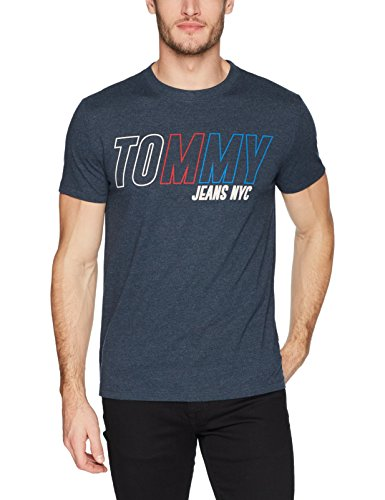 Tommy Jeans Men's T-Shirt Short Sleeve Graphic Logo Tee, Black Iris Block, Large