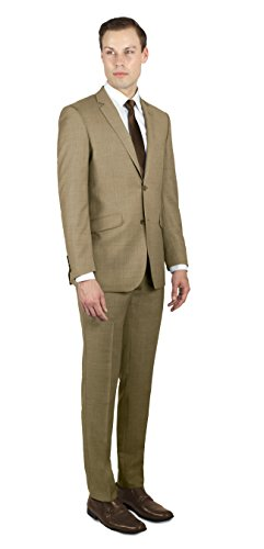 Alain Dupetit 100% Wool Men's Two Button Suit 36S Tan