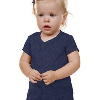 Kavio! Unisex Infants V Neck Short Sleeve Ht. Navy 24M