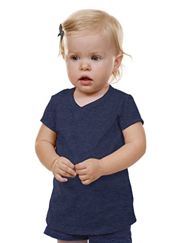 Kavio! Unisex Infants V Neck Short Sleeve Ht. Navy 24M