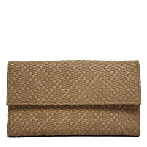 Gucci Diamante Leather Flap Wallet, Tan Brown