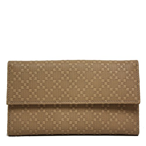 Gucci Diamante Leather Flap Wallet, Tan Brown
