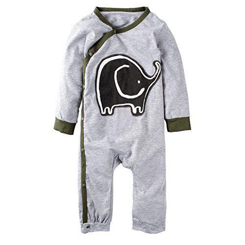 BIG ELEPHANT Baby Boys' 1 Piece Elephant Print Long Sleeve Button Rompers Bodysuit K12-95