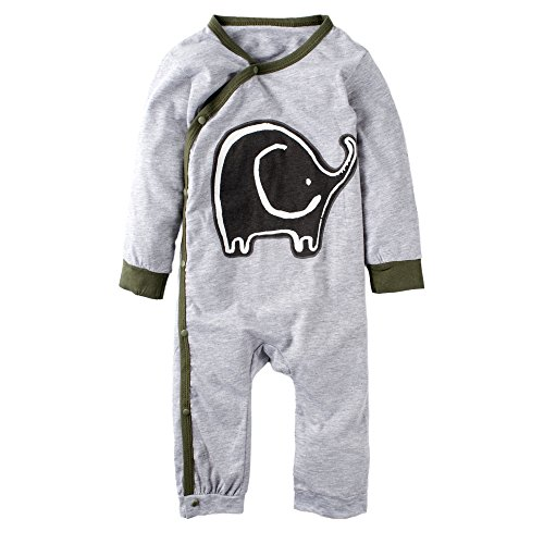 BIG ELEPHANT Baby Boys' 1 Piece Elephant Print Long Sleeve Button Rompers Bodysuit K12-95