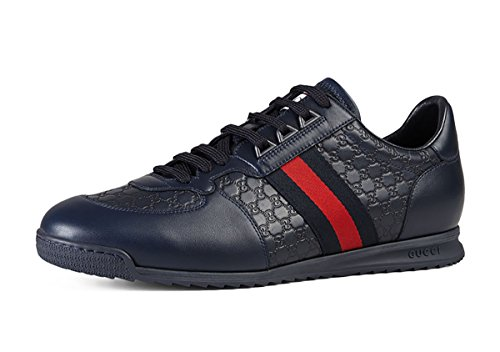 Gucci Men's 'SL 73' Guccissima Leather With Web Detail Sneaker, Blue 233334 (12.5 US UK 11.5)