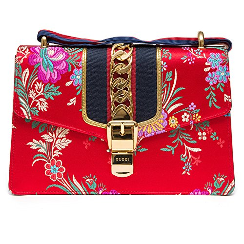 Gucci Sylvie Red Jacquard Floral Tokyo Silk Small Bag Ribbon Leather Handbag New Box