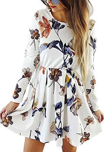Angashion Womens Dresses Casual Floral Print Long Sleeve Swing Pleated Skater A Line Mini Dress,White,Large