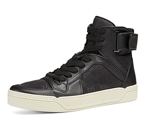 Gucci Men's Nylon Guccissima High-Top Sneaker, Black (Nero) 409766 (9.5 US/9 UK)