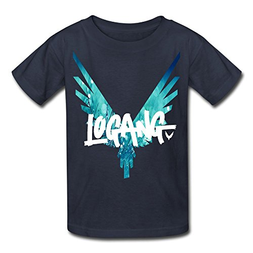 Christina W. Halle Youth Kids Spring Fashion T-Shirt Short Sleeve Logan Paul Logo Customization Navy M
