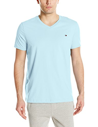 Tommy Hilfiger Men's Core Flag V-Neck Tee, Pool Blue, X-Large