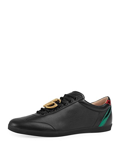 Gucci Men's Bambi GG Leather Low-Top Sneaker, Black (10.5 US/10 UK)