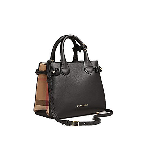 Tote Bag Handbag Authentic Burberry The Baby Banner in Leather and House Check Black Item