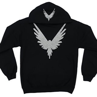 CC Logang Logan Paul Maverick Adult Black Hoodie (Silver Glitter Bird Logo)