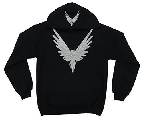 CC Logang Logan Paul Maverick Adult Black Hoodie (Silver Glitter Bird Logo)