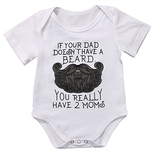 BiggerStore Funny Newborn Infant Baby Girls Boys Short Sleeve Bodysuit Romper White Outfits Clothes (3-6 Months)